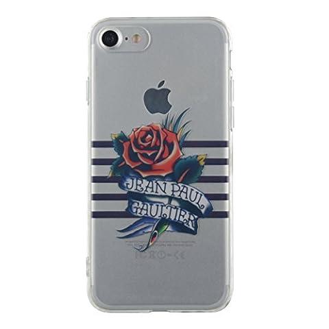 Coque Marinià¨re bleue et impression tatoo Jean Paul Gaultier pour iPhone 7