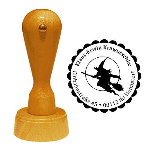 Stempel Adressstempel « fliegende HEXE auf BESEN und VOLLMOND » Durchmesser ca. Ø 40 mm - mit persönlicher Adresse und Motiv - Halloween Walpurgisnacht Mond