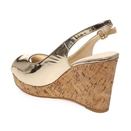 La Modeuse - Sandales en simili cuir Doré