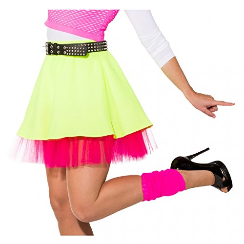 Rock neongelb/pink mit Petticoat 80er 90er Jahre Kostüme neon Rock ()