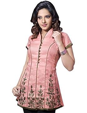 1545 Designs Mujer Más el tamaño del cuello del halter camisa rosa túnica de la tapa del vestido