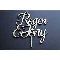 Cake Topper Name and Name - Wedding, Engagement Party Cake Topper Solid Wood Luxury Premium Topper Keepsake