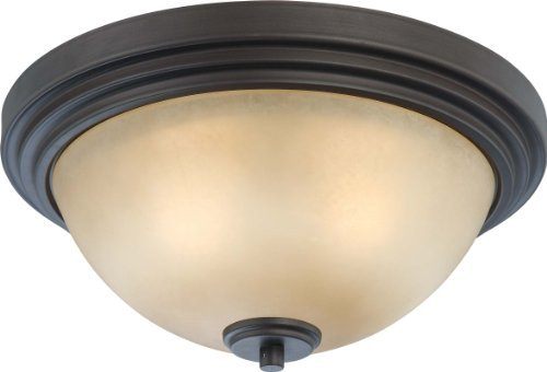 Nuvo Lighting 60/4131 Two Light Harmony Medium Flush Dome with Saffron Glass, CUL Damp Location, Dark Chocolate Bronze by Nuvo Lighting