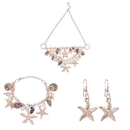 PandaHall Elite Fashion Sea Shell Starfish Faux Perle Kragen Bib Statement Chunky - Elite Kostüm Schmuck