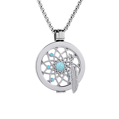 Meilanty Coin 33mm Traumfänger Edelstahl Silber Damen Halskette mit 80cm Ketten ZH-043-1