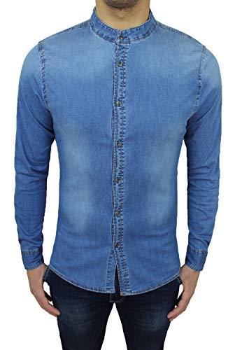 Mat sartoriale camicia di jeans uomo denim chiara slim fit con colletto alla coreana (l)
