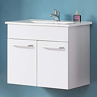 Aica 600mm Bathroom Vanity Unit Wall Hung Storage Cabinet Furniture White Two Doors (Unit ONLY)