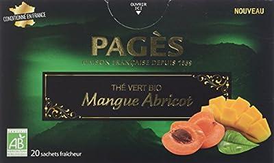 Pagès Thé Vert Mangue Abricot Bio 20 sachets - Lot de 2