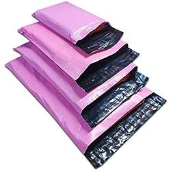 Lot de 100sacs en plastique pour courrier, couleur rose