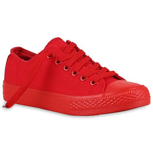 Stiefelparadies Damen Sneakers Sport Sneaker Low Denim Stoff Blumen Camouflage Schuhe 123353 Rot 42 Flandell