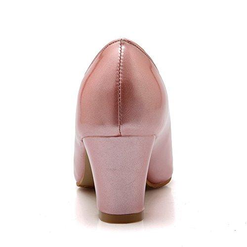 AllhqFashion Femme Tire Matière Mélangee Couleur Unie Pointu Fermeture D'Orteil Chaussures Légeres Rose