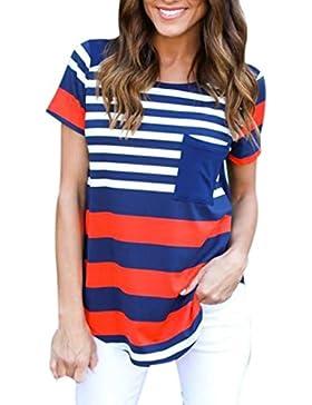 Rcool - Tops para Mujeres - Manga Corta de la Verano de Rayas Blusa Tops Camiseta Con Bolsillo