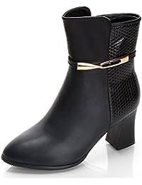 Easemax Damen Elegant Spitze Zehe Bunt Riemen Stilettos Stiefel Mit Absatz Grau 43 EU