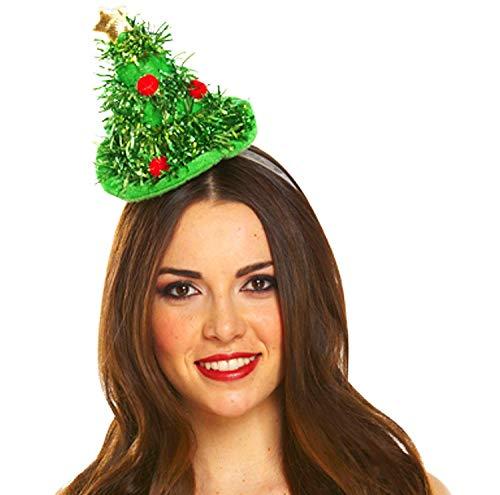 All For You Mini-Weihnachtsbaum-Haarband, Haarband, Haarband, Party, Kostüm, Zubehör für Mädchen, Damen, Kinder, Erwachsene, lustiges Geschenk, Strumpffüller, Weihnachten, Festliche (Weihnachtsbaum Kostüm Kind)