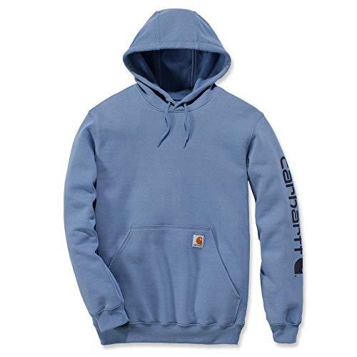 Carhartt Herren Midweight Sleeve Logo Hooded Sweatshirt (Regular and Big & Tall Sizes) Arbeits-T-Shirt, blau (French Blue), Mittel