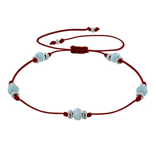 Schmuck Les Poulettes - Armband Link Fünf Larimar Facettiert Perlen - Rote