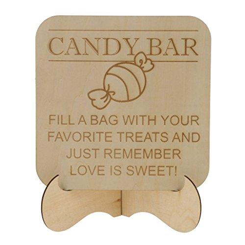 P Prettyia Retro Holz Schilder Tischdeko Tischständer mit '' Candy Bar '' für Party und Bar Holz Candy