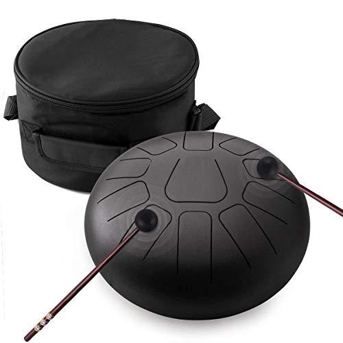 Pan Drum,Tongue Drum,Steel Pan Trommel Rostfreier Stahl Schlaginstrument mit Schlagzeug Schlägel Taschen Tragen Hinweis Sticks (Schwarz)