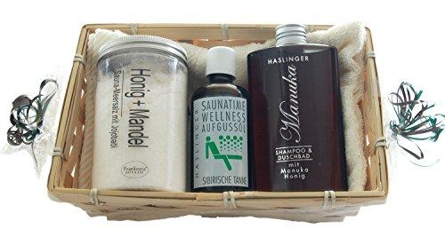Sauna Geschenkset Honig - 5 tlg. - Duschbad - Shampoo, Saunasalz, Saunaaufguss, Handtuch 30x50 weiß im Geschenkkorb