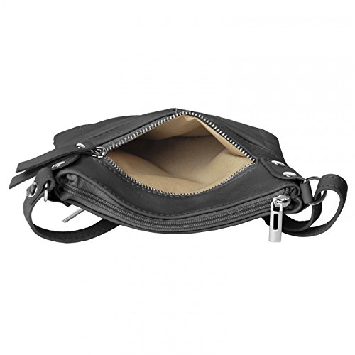 CASPAR Damen Ledertasche / Umhängetasche / Messenger Bag mit vielen Fächern aus weichem italienischem Leder - viele Farben - TL640 dunkelgrau