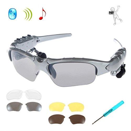 Drahtlose Kopfhörer Sonnenbrille,KINGCOO Sport Bluetooth Musik Headset Kopfhörer für iPhone 7/7 Plus Samsung Bluetooth-Geräte + Gratis Austauschbare 3 Paar Objektiv (Silber)