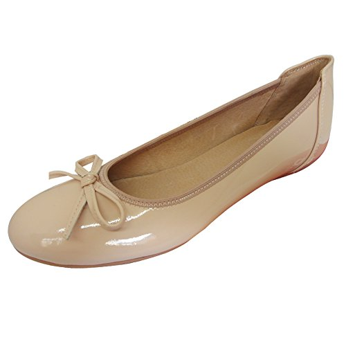 Baideng Damen Ballerinas Lack Leder mit Absatz Flache Hellrosa 40 6192-2 (Ballerina Flache Patent Leder Schuhe)