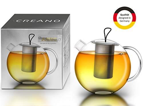 Creano Teekanne Jumbo aus Glas, 3-teilige Glasteekanne im Teekannenset mit integriertem Edelstahl-Sieb & Glas-Deckel, multifunktionale Design-Glas-Teekanne, All-in-one, 1,0l