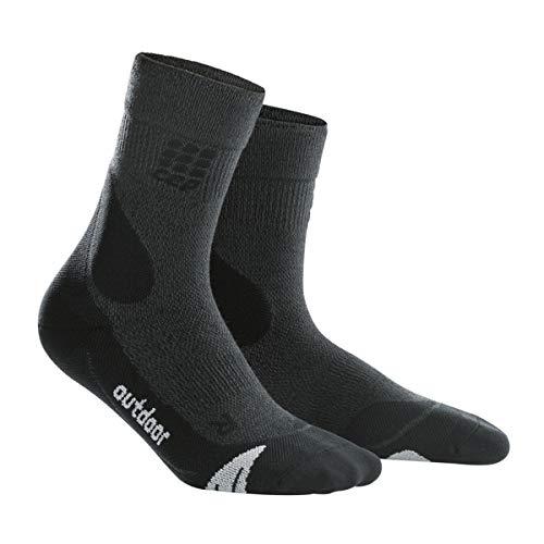 CEP - Outdoor Merino MID-Cut Socks für Herren | Warme Wandersocken knöchellang in grau/schwarz | Größe IV