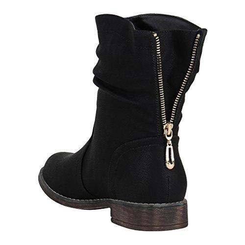 Stiefelparadies Damen Stiefeletten Schlupfstiefel Zipper Gefütterte Stiefel Schuhe 149571 Schwarz...