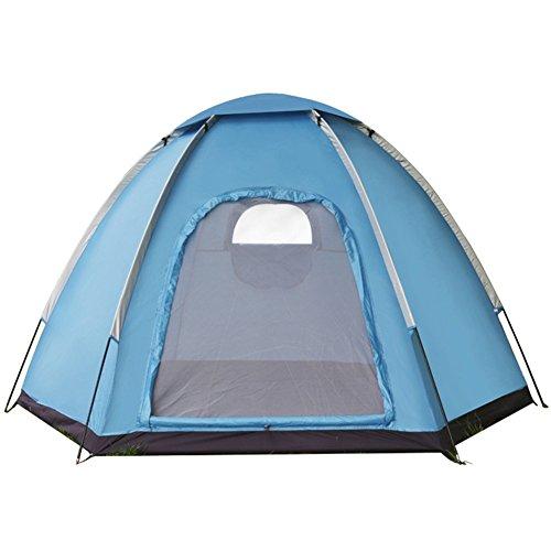 Camping zelte,3 ~ 4 person Einzellagen-zelte Sechseckige Wasserdicht Schatten Berg Wild camping Strand-freizeit Zelt kinder-Blau (Alle Wetter Aluminium-rahmen)