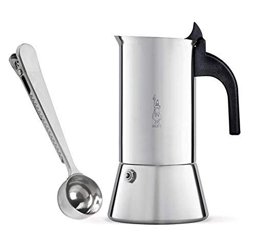 Bialetti Venus 4 Tassen Espressokocher aus Edelstahl Induktion geeignet | Espressokanne für alle Herdarten und Kaffeedosierlöffel mit Klammer von SmartProduct