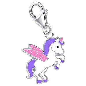 Glitzer Flügel Pegasus Einhorn Charm Anhänger 925 Echt Silber Mädchen Damen Kinder Pferd