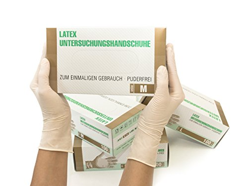 Latexhandschuhe 1000 Stück Karton (M, Latex) Einweghandschuhe, Einmalhandschuhe, Untersuchungshandschuhe, Latex Handschuhe, puderfrei, unsteril, disposible gloves, white, Medium