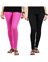 Stylewhile Combo Of Pink & Black Color Cotton Lycra Churidar Free Size Legging For Women