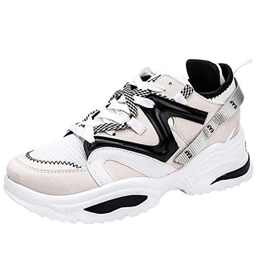 CUTUDE Herren Schuhe Atmungsaktive Sportschuhe Mode Schnürung Student Laufschuhe - Viele Farben 39EU-44EU (Weiß, 37 EU) - Schuhe Boxing Weiß