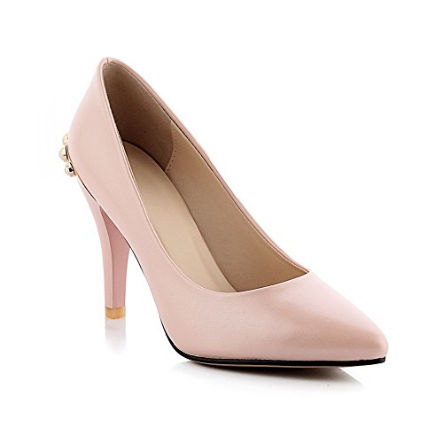 Odomolor Damen Stiletto Rein Ziehen auf Spitz Schließen Zehe Pumps Schuhe, Pink, 40