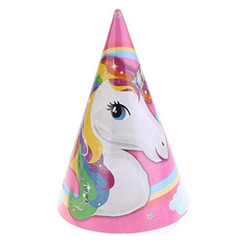 MagiDeal 6 Piezas Precioso Unicornio Partido Papel Cono Sombrero Gorra de Cumpleaños Lujo