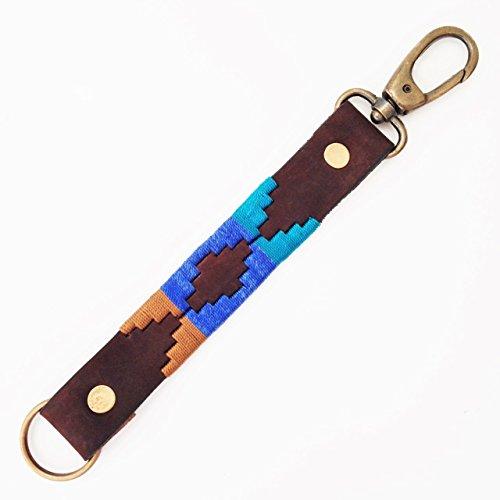 Realizzata a mano in pelle di vitello Argentina Polo portachiavi catena chiavi Argentina stile azteco