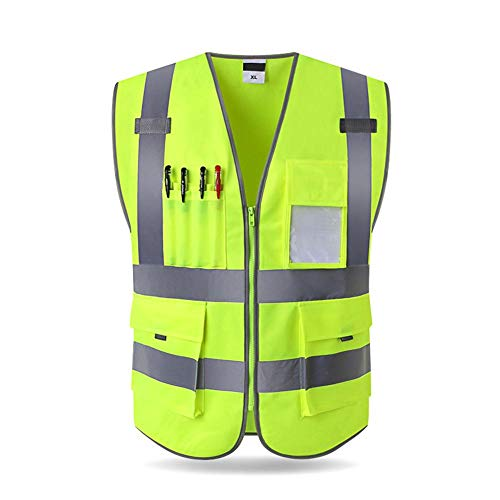 Never-hu Reflective Safety Vest Security Waistcoat Warp Knitting Cloth Reflective Jacket Fit for Traffic Engineering Night Working Traffic Safety Vest