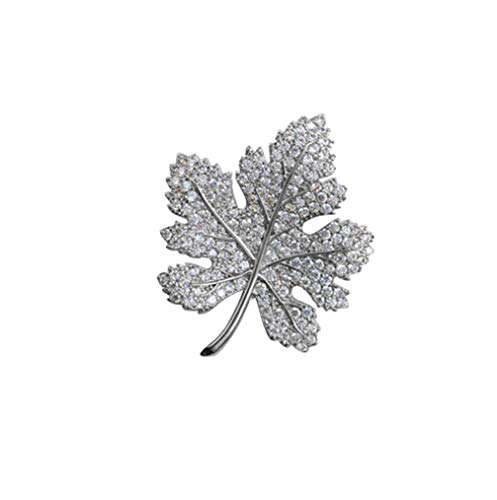 HFJ&YIE&H Ahornblatt Pflanze Blume Brosche Kleider Zubehör Mikro Mosaik-Kristall Broschen für Frauen Geburtstag Geschenke Schmuck,Silver (Mohn Sterling Silber)