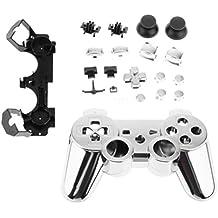 Reemplazo Carcasa Caso Botones Completo Kit de Accesorios para Sony PS3 Controlador Cromo Plata