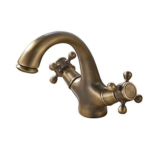 Athraoay Wasserhahn Waschbecken Armatur Messing antik Doppel Knöpfe Wasserhahn Einloch Deck montiert Bad Mischbatterie Waschtischarmatur Badarmatur