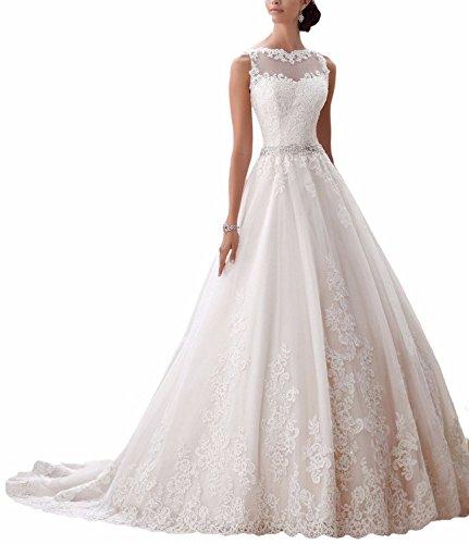 Ever Love Damen Abendkleider Elegant Abschlussballkleider Bandeau Kleid Hochzeitskleid mit Stickerei Brautkleid Ivory36