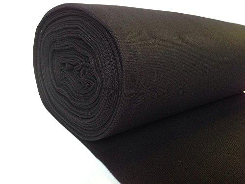 Tessuto per polsini, in tinta unita, 50cm, colore nero
