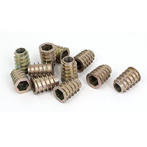 sourcingmapr-legno-m10-x-25-mm-esagono-incassato-vite-in-filo-zincato-inserto-noci-11pcs