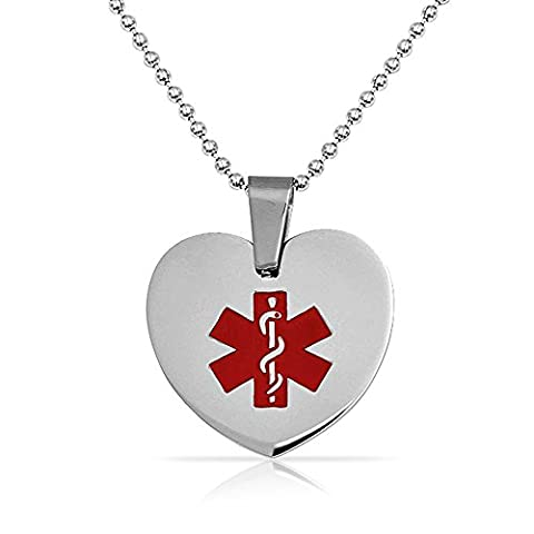 Medical ID Heart Dog Tag Pendant Stainless Steel Necklace