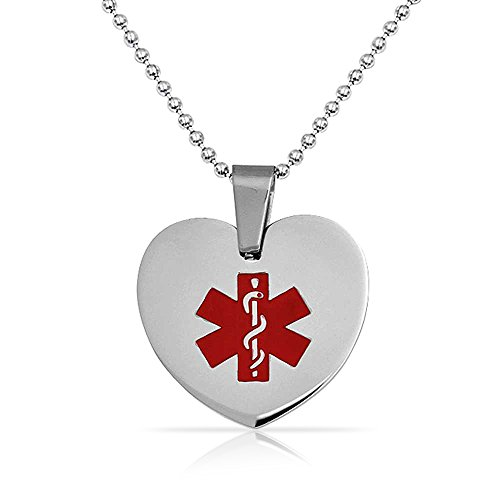 Bling Jewelry Medical ID Heart Dog Tag Pendant Stainless Steel Necklace 20 Inches