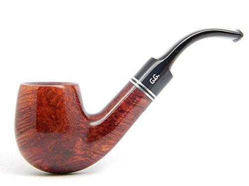 Watson & G.G. - Pipa di radica fumo di tabacco - HOLMES - fatta a mano, completa Bent (filtro 9mm) + Branded Pouch (edizione speciale per Watson) (mogano)