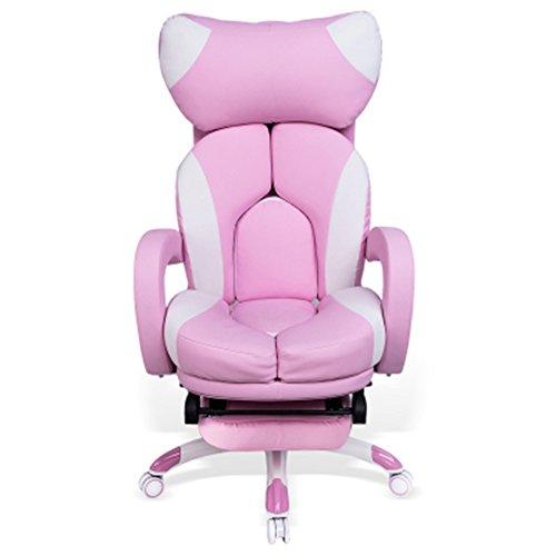 Liegen MAZHONG Bürostuhl, drehbarer Bürostuhl Recliner Tilt und Lock-Funktion Executive Computer Arbeit Stuhl (Pink) (Farbe : Pink)
