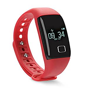 TKOOFN Heart Rate Smart Wristbands Touch Bracelet Bluetooth Passometer Sports Fitness Tracker for IOS Andriod Red